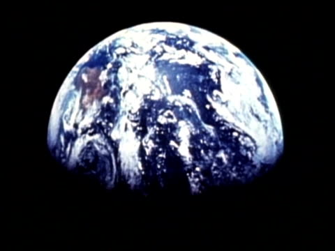 cu earth from the moon, apollo 11, zoom out to wa - zoom out stock-videos und b-roll-filmmaterial