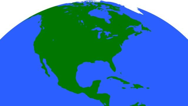 vídeos de stock e filmes b-roll de earth globe green continents blue oceans - design plano
