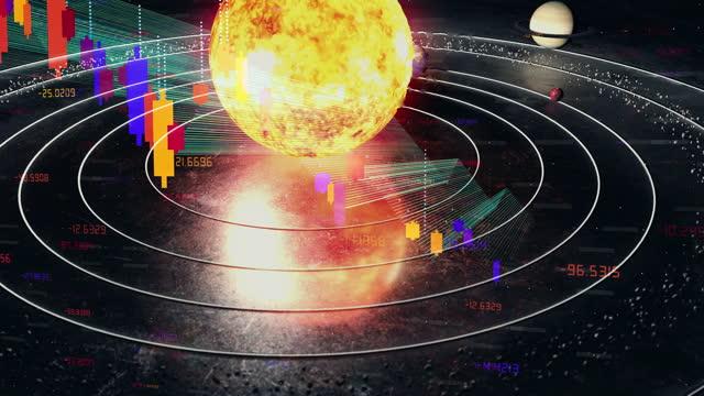 earth globe in solar system, digital chart overlay - blockchain stock videos & royalty-free footage
