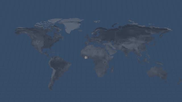 地球のグローブマップ-コート d'lvoire 使用できると終点でアルファチャンネル遷移を持つ国地図 - 象牙点の映像素材/bロール