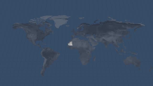 地球のグローブマップ-モーリタニアの国地図使用できると終点でのアルファチャンネル遷移 - ヌアクショット点の映像素材/bロール