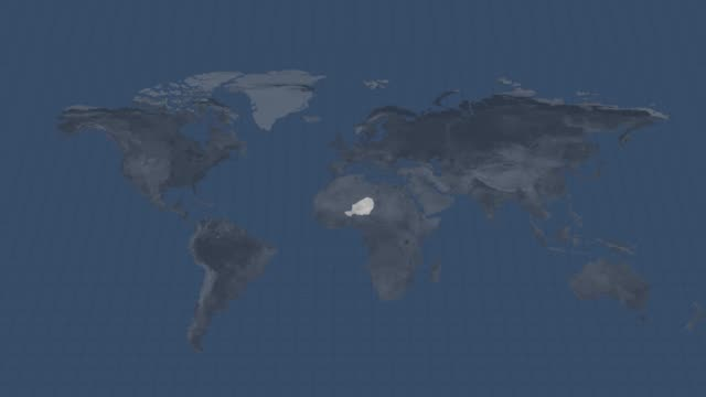 地球の地図-ニジェール国地図使用できると終点でのアルファチャンネル遷移 - 疫病点の映像素材/bロール