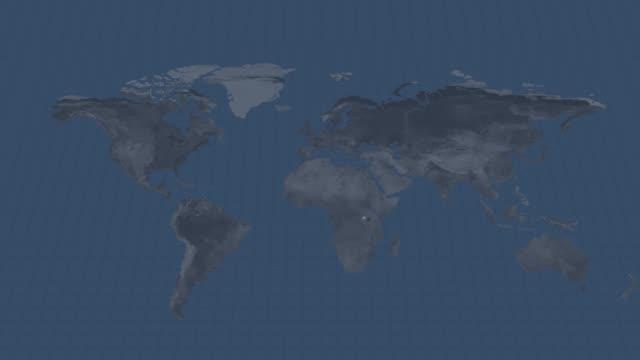 地球の地球儀マップ-ルワンダの使用できると終わりにアルファチャンネルのトランジションを持つ国地図 - キガリ点の映像素材/bロール