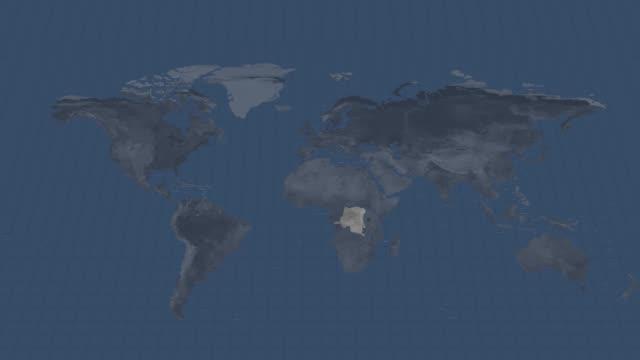 地球の地図-コンゴ民主共和国の国地図使用できると終点でのアルファチャンネル遷移 - 疫病点の映像素材/bロール