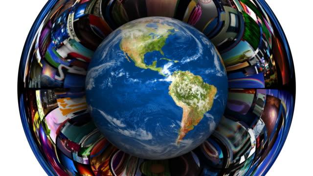 earth globe video vortex - video wall stock videos & royalty-free footage