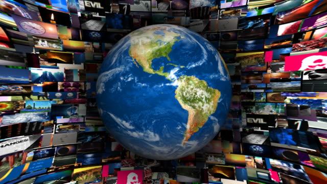 vídeos de stock, filmes e b-roll de terra globo vídeo vórtice - imagem manipulada