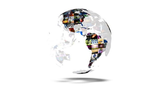 vídeos de stock, filmes e b-roll de terra globo parede de vídeo - parede de vídeo