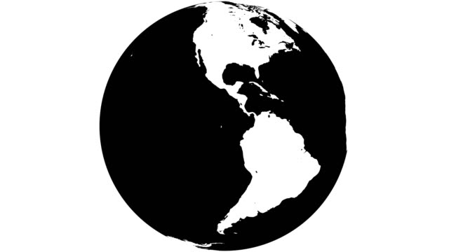 earth globe white continents and  black water - spinning stock videos & royalty-free footage