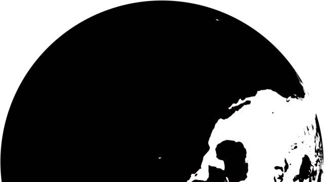 vídeos de stock e filmes b-roll de earth globe white continents and  black water - design plano
