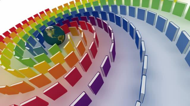 Erde Globus mit Regenbogen Bücher. Endlos wiederholbar