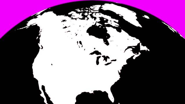 vidéos et rushes de globe terrestre avec les continents blancs et des eaux noires - hémisphère nord