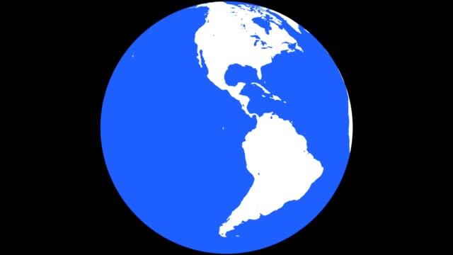 erdkugel mit weißen kontinente und blaues wasser - komplett stock-videos und b-roll-filmmaterial