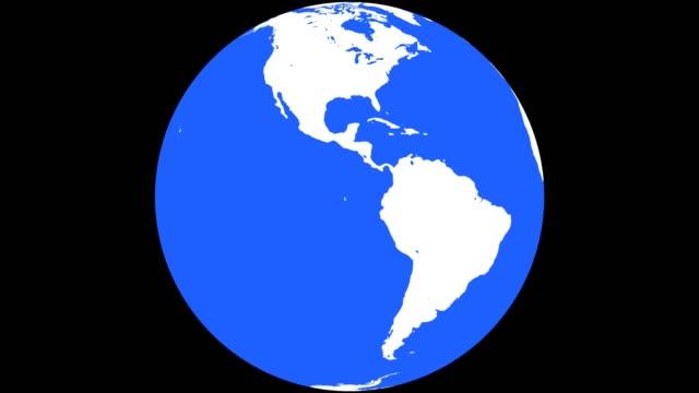 vídeos y material grabado en eventos de stock de globo de tierra con continentes blanco y aguas azules - dar vueltas