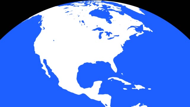 Earth Globe with White Continents and Blue Waters