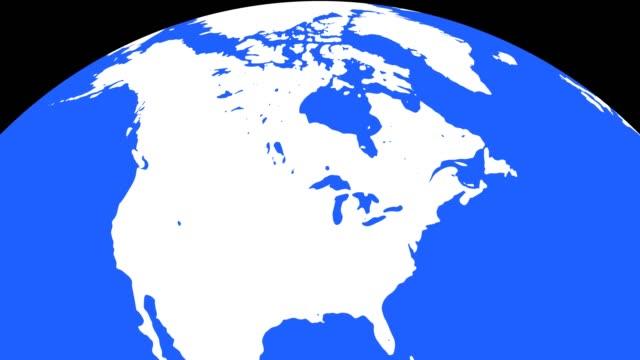 vidéos et rushes de globe terrestre avec les continents blancs et des eaux bleues - hémisphère nord