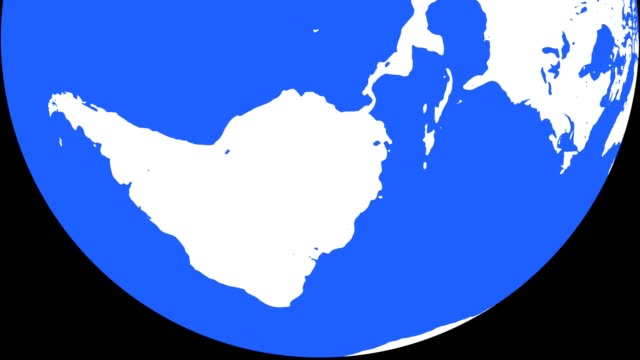 vídeos de stock e filmes b-roll de earth globe with white continents and blue waters - design plano