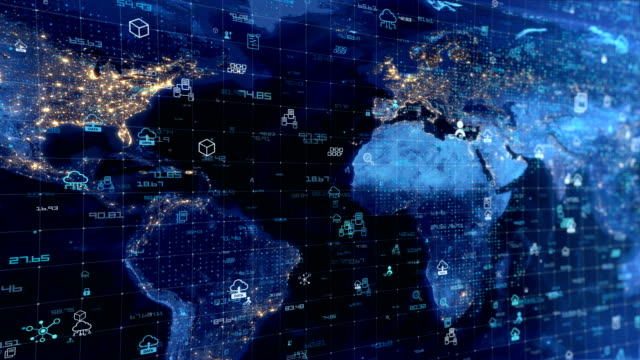 earth map digital connection and social network - global communications stock videos & royalty-free footage