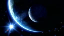 Earth, moon and sun. Blue light. HD 1080.
