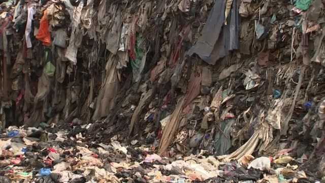 country struggling with processing of clothing from the uk ghana accra ext various of huge mound of old clothing with cows grazing on the pile and... - grazing stock videos & royalty-free footage
