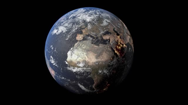 vídeos de stock e filmes b-roll de earth planet rotation with day side, europe side,  elements of this footage is furnished by nasa - geografia física