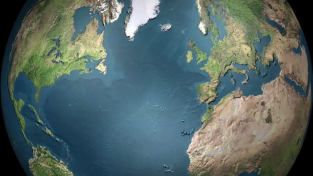 earth rotating and zoom in to london, uk - europa continente video stock e b–roll