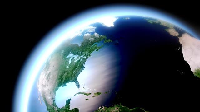 vidéos et rushes de terre rotatif-hémisphère nord - hémisphère nord