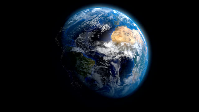 earth rotation with night side city lights - global stock videos & royalty-free footage