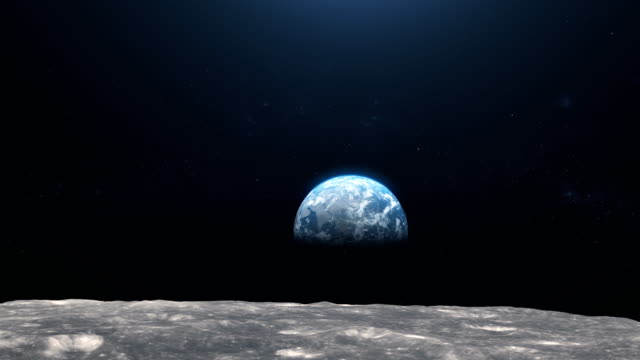 earth seen from moon surface. nasa public domain imagery - moon stock videos & royalty-free footage