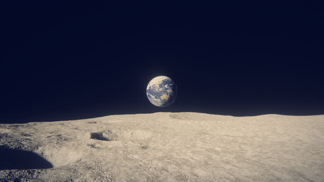 terra vista dalla luna - astronomia video stock e b–roll