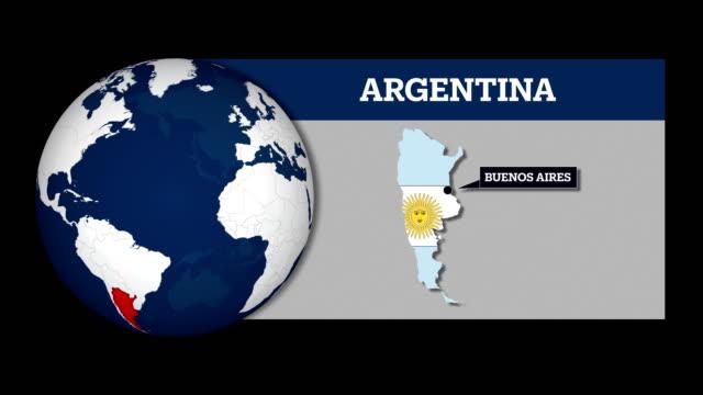 erdkarte kugel und argentinien landkarte mit nationalflagge - argentinische flagge stock-videos und b-roll-filmmaterial