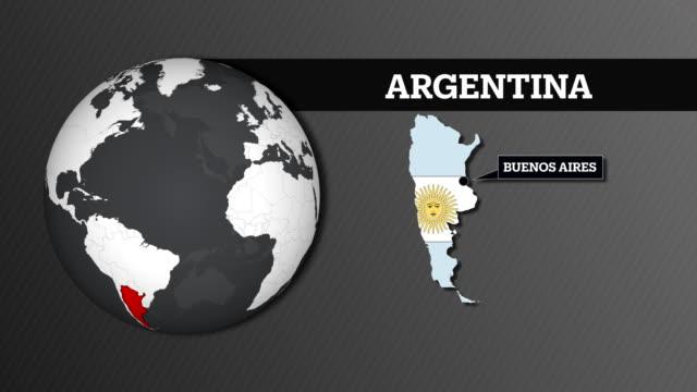 vídeos y material grabado en eventos de stock de mapa de la esfera y argentina país con bandera nacional de la tierra - bandera argentina