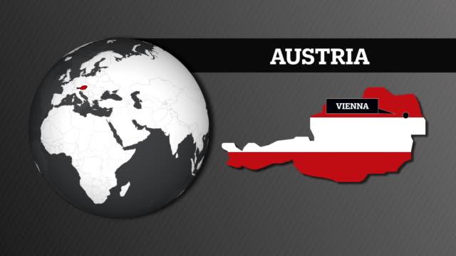 erdkarte kugel und österreich landkarte mit nationalflagge - austria flag stock-videos und b-roll-filmmaterial