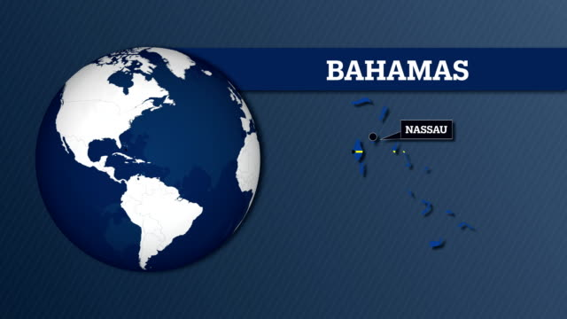 earth sphere map and bahamas country map with national flag - nassau stock videos & royalty-free footage