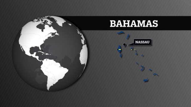 Earth Sphere Map and Bahamas Country Map with National Flag