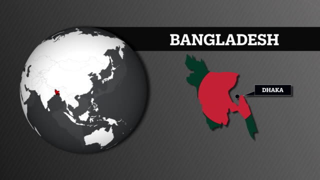 earth sphere map and bangladesh country map with national flag - dhaka stock videos & royalty-free footage