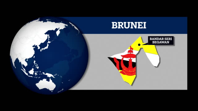 earth sphere map and brunei country map with national flag - brunei stock videos & royalty-free footage