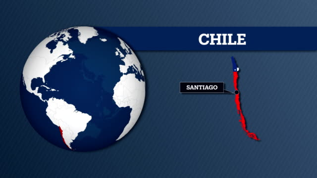 vídeos de stock e filmes b-roll de earth sphere map and chile country map with national flag - chile