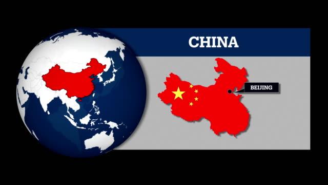 vídeos de stock, filmes e b-roll de mapa de esfera de terra e china mapa do país com a bandeira nacional - china east asia