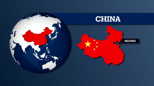earth sphere map and china country map with national flag - china east asia stock videos & royalty-free footage
