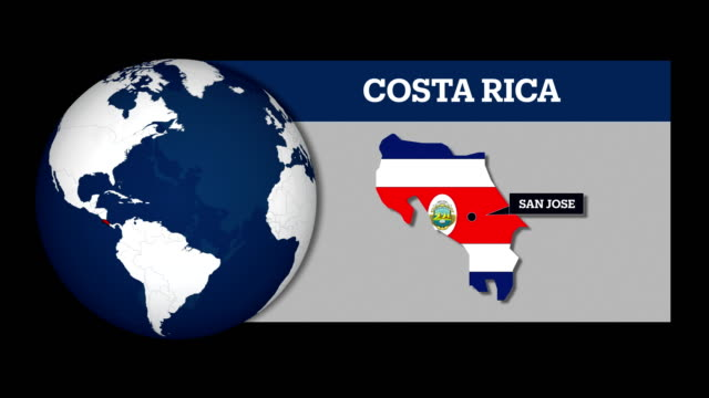 earth sphere map and costa rica country map with national flag - costa rica stock videos & royalty-free footage