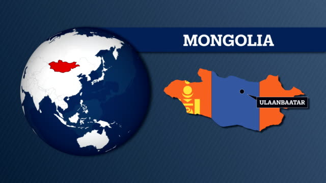 earth sphere map and country map with national flag - independent mongolia stock videos and b-roll footage