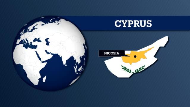 mappa della sfera terrestre e mappa del paese di cipro con bandiera nazionale - grecia stato video stock e b–roll