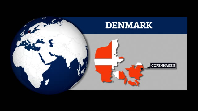 earth sphere map and denmark country map with national flag - oresund region stock videos & royalty-free footage