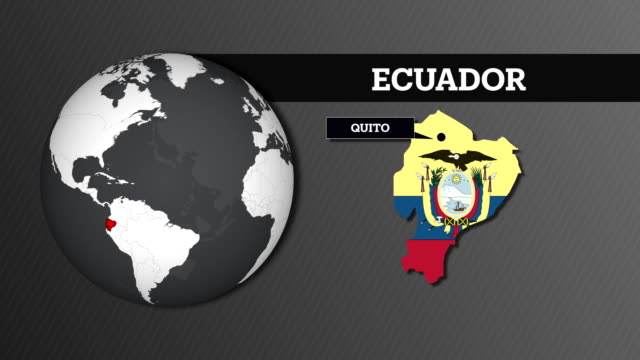 earth sphere map and ecuador country map with national flag - ecuadorian ethnicity stock videos & royalty-free footage