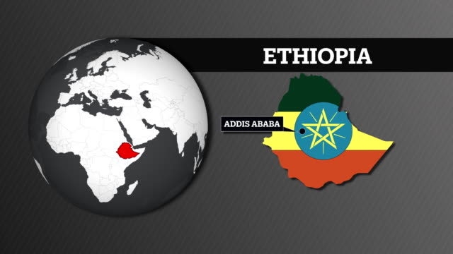 Earth Sphere Map and Ethiopia Country Map with National Flag