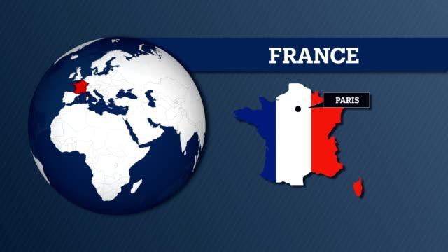 vidéos et rushes de carte de sphère terre et carte du pays france avec drapeau national - frontière