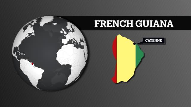 vidéos et rushes de carte de sphère terre et carte du pays français guyane avec drapeau national - carte dom tom