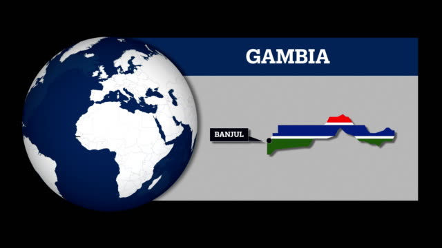 Earth Sphere Map and Gambia Country Map with National Flag