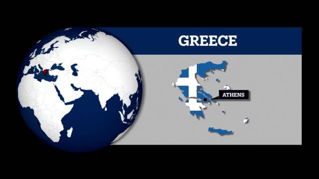 mappa della sfera terrestre e mappa del paese della grecia con bandiera nazionale - grecia stato video stock e b–roll