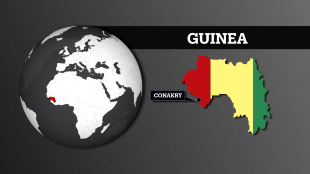 Earth Sphere Map and Guinea Country Map with National Flag